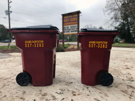 Adams Sanitation 95 gal and 65-gal residential garbage cans