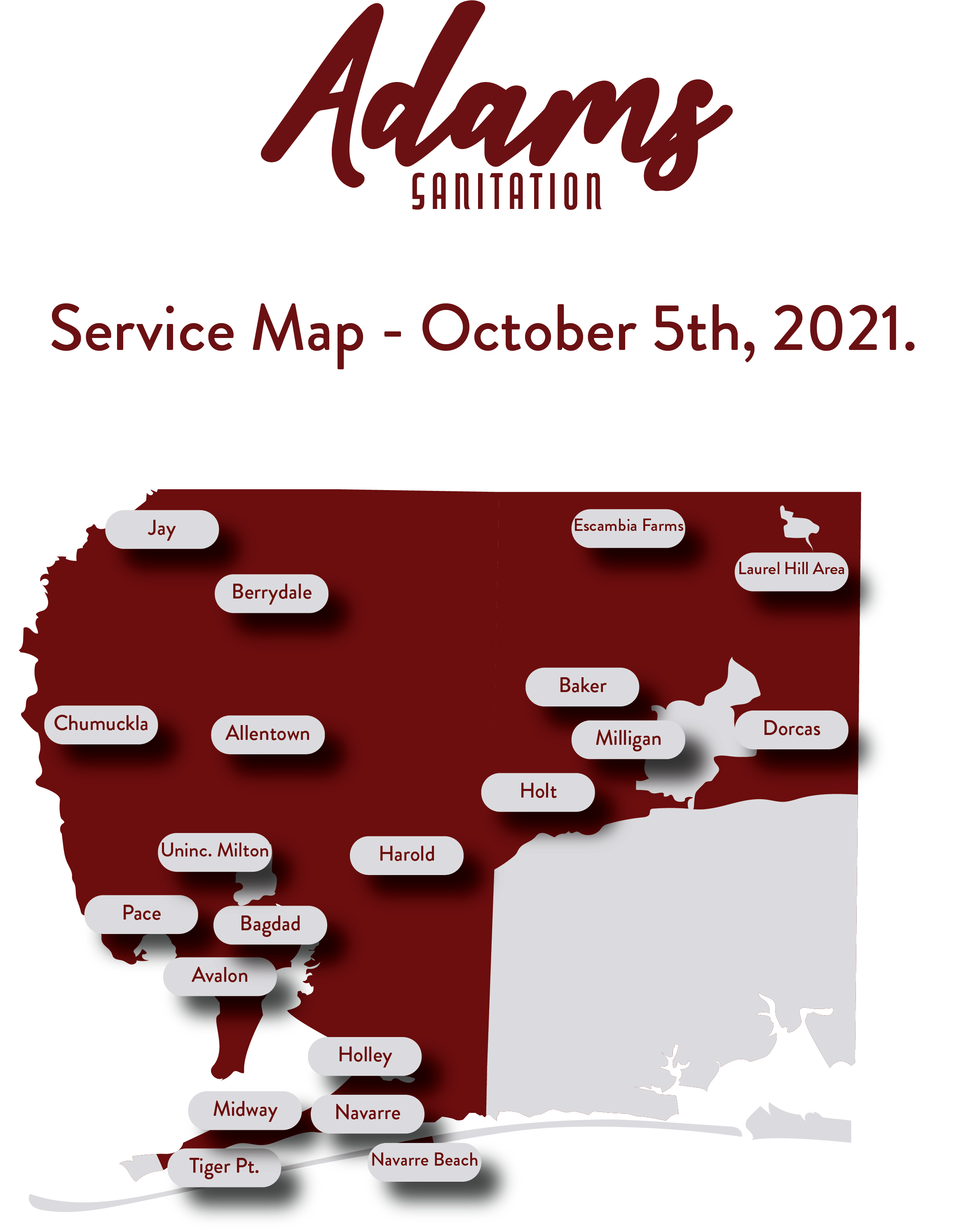 Adams Sanitaiton Service Area Map - Updated October 4th, 2021